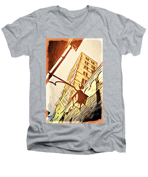 Arezzo's Tower Men's V-Neck T-Shirt by Andrea Barbieri