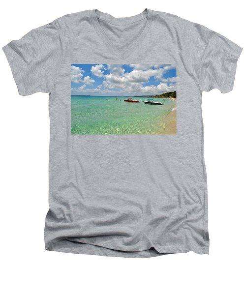 Argostoli Greece Beach Men's V-Neck T-Shirt by Robert Moss