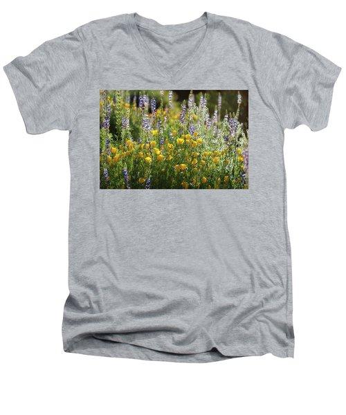 Men's V-Neck T-Shirt featuring the photograph Arizona Spring Wildflowers  by Saija Lehtonen
