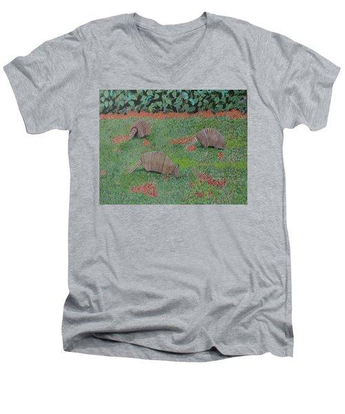 Armadillos In The Yard Men's V-Neck T-Shirt by Hilda and Jose Garrancho