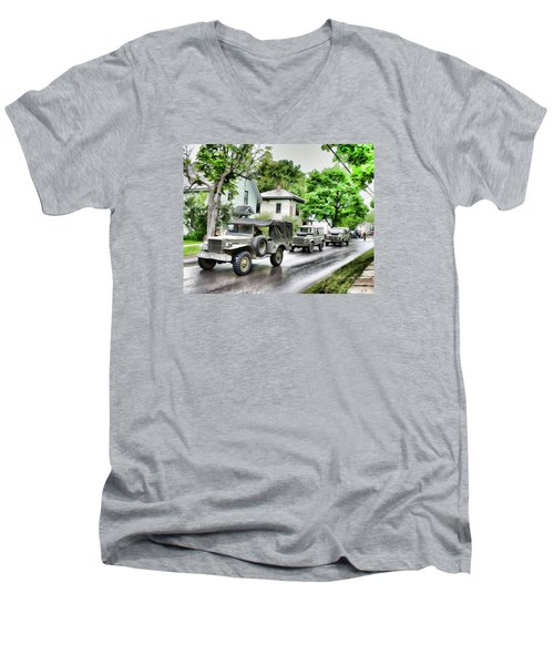 Army Jeeps On Parade Men's V-Neck T-Shirt by Rena Trepanier