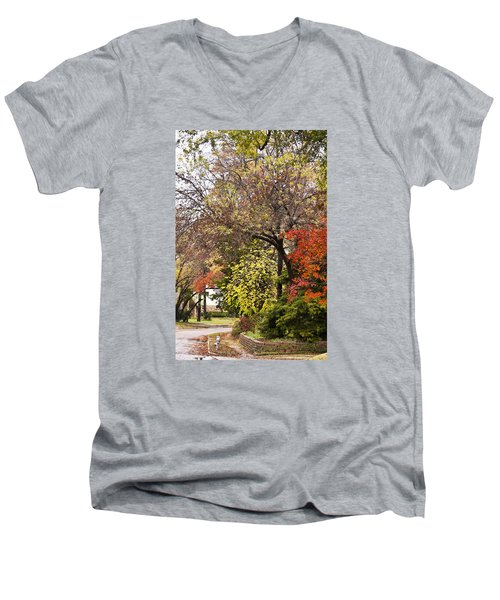 Men's V-Neck T-Shirt featuring the photograph Around The Corner by Joan Bertucci