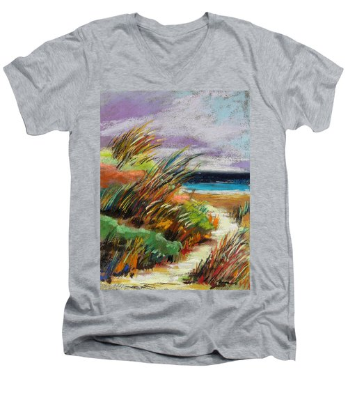 Men's V-Neck T-Shirt featuring the painting Around The Dune by John Williams