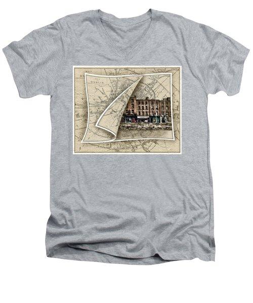 Arran Quay Dublin Map Men's V-Neck T-Shirt