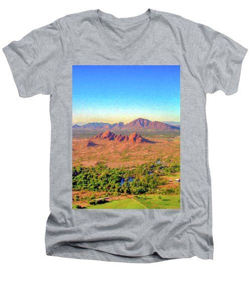 Arriving In Phoenix Digital Watercolor Men's V-Neck T-Shirt