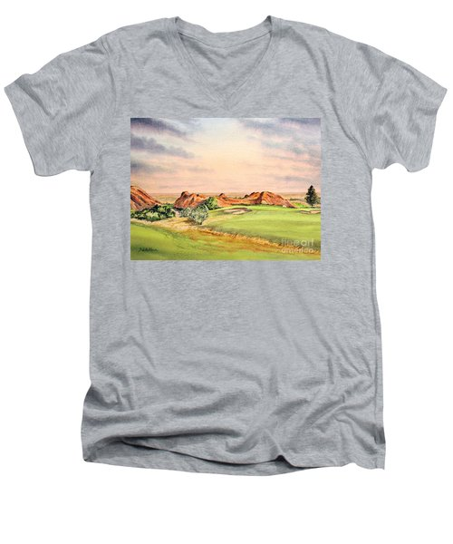 Men's V-Neck T-Shirt featuring the painting Arrowhead Golf Course Colorado Hole 3 by Bill Holkham