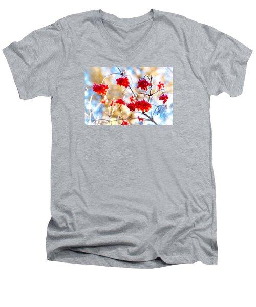 Men's V-Neck T-Shirt featuring the photograph Arrowwood Berries by Alexander Senin
