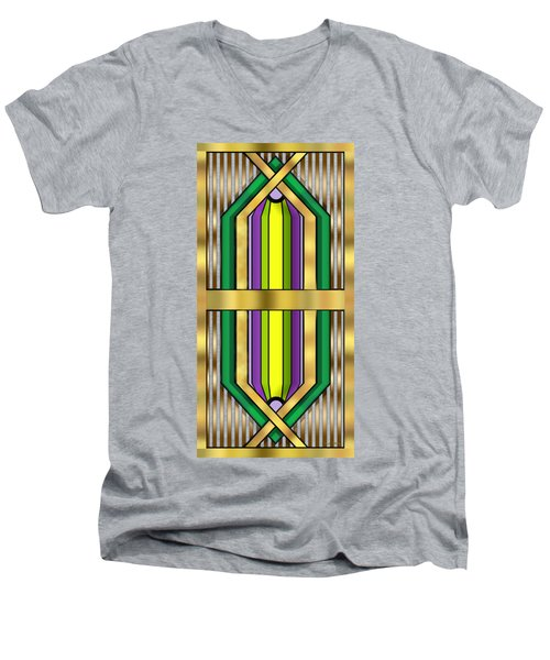 Men's V-Neck T-Shirt featuring the digital art Art Deco 14 Vertical - Chuck Staley by Chuck Staley