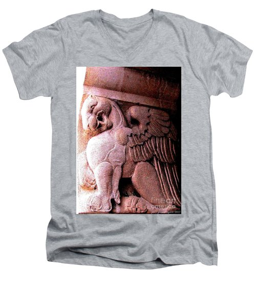 Men's V-Neck T-Shirt featuring the photograph Art Deco Griffin Circa 1925 by Peter Gumaer Ogden