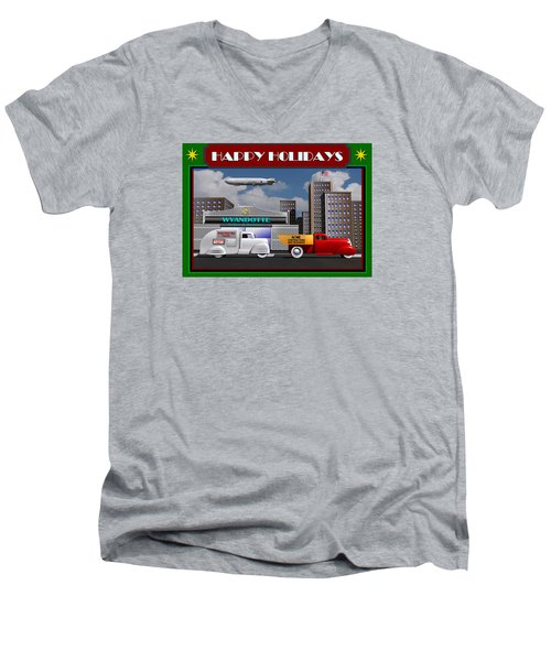 Men's V-Neck T-Shirt featuring the digital art Art Deco Street Scene Christmas Card by Stuart Swartz