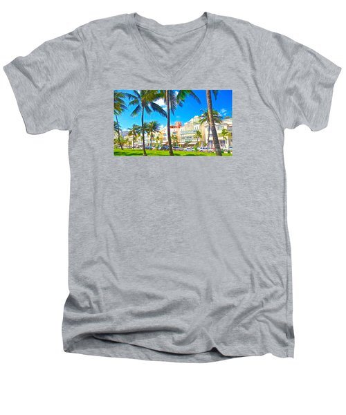 Men's V-Neck T-Shirt featuring the painting Art Deco Style by Judy Kay