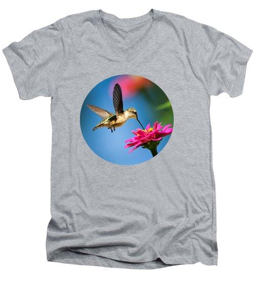 Art Of Hummingbird Flight Men's V-Neck T-Shirt by Christina Rollo