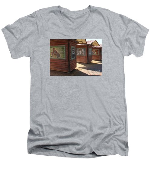 Art Shacks Old Town Men's V-Neck T-Shirt by Cheryl Del Toro