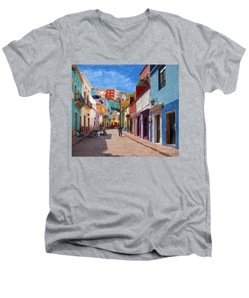 Men's V-Neck T-Shirt featuring the photograph Art Students Drawing A Street In Guanajuato by John Kolenberg