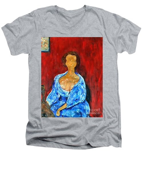 Men's V-Neck T-Shirt featuring the painting Art Study by Reina Resto