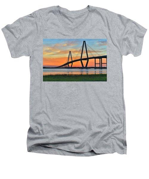 Arthur Ravenel Jr. Bridge At Dusk - Charleston Sc Men's V-Neck T-Shirt