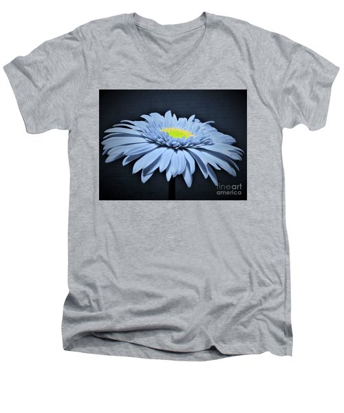 Artic Blue Gerber Daisy Men's V-Neck T-Shirt