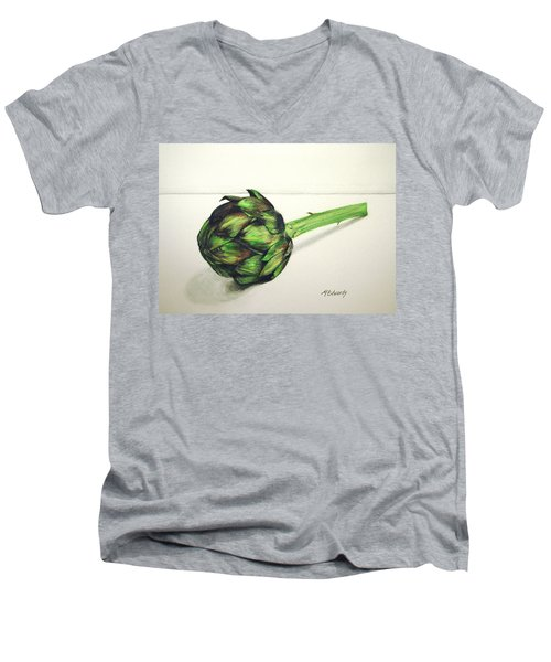 Artichoke Men's V-Neck T-Shirt by Marna Edwards Flavell