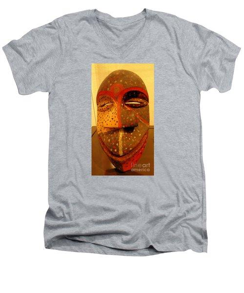 Artifact Mask Of Angola Men's V-Neck T-Shirt by John Potts