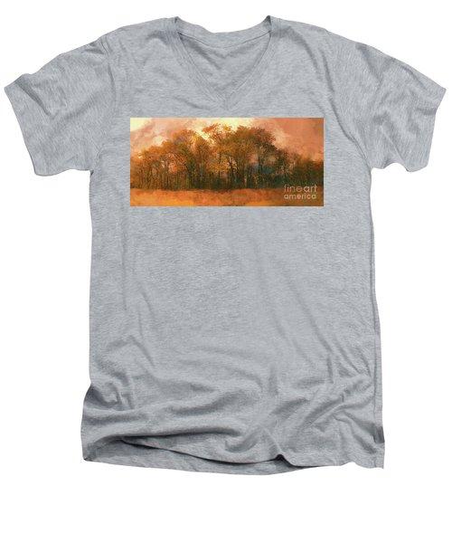 Artistic Fall Colors In The Blue Ridge Fx Men's V-Neck T-Shirt by Dan Carmichael