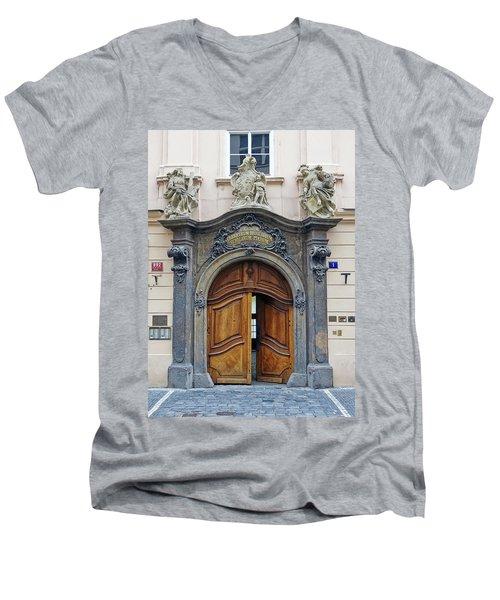 Artistic Ornate Door In Prague Men's V-Neck T-Shirt