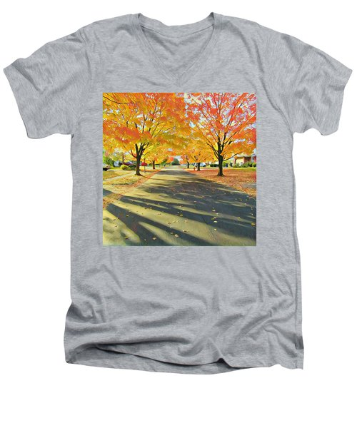 Men's V-Neck T-Shirt featuring the photograph Artistic Tulsa Street by Robert Knight