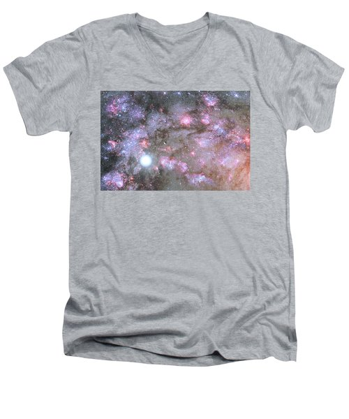Men's V-Neck T-Shirt featuring the digital art Artist's View Of A Dense Galaxy Core Forming by Nasa