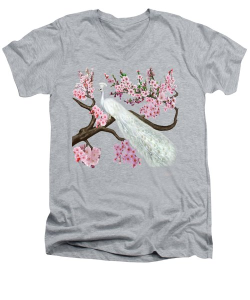 Cherry Blossom Peacock Men's V-Neck T-Shirt