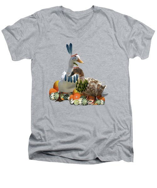 Thanksgiving Indian Ducks Men's V-Neck T-Shirt