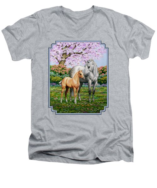 Spring's Gift - Mare And Foal Men's V-Neck T-Shirt