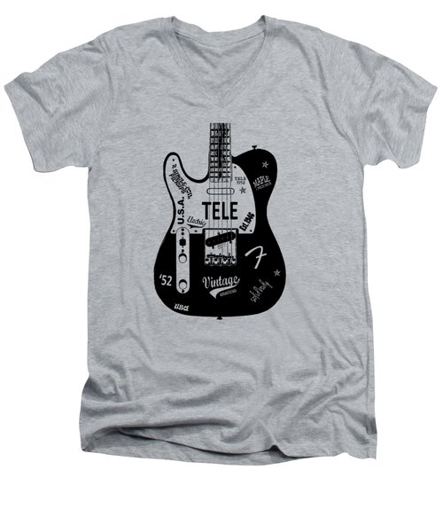 Fender Telecaster 52 Men's V-Neck T-Shirt by Mark Rogan
