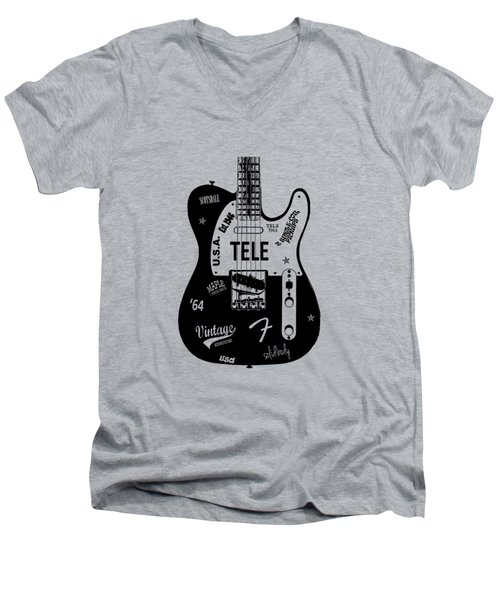 Fender Telecaster 64 Men's V-Neck T-Shirt by Mark Rogan