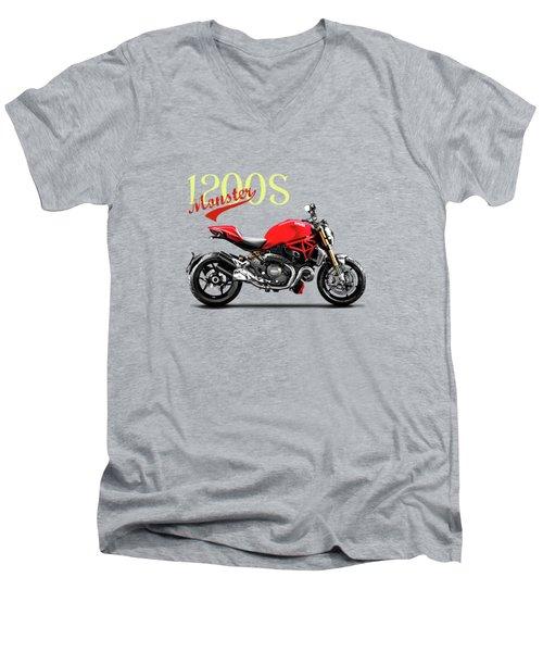 Ducati Monster Men's V-Neck T-Shirt by Mark Rogan