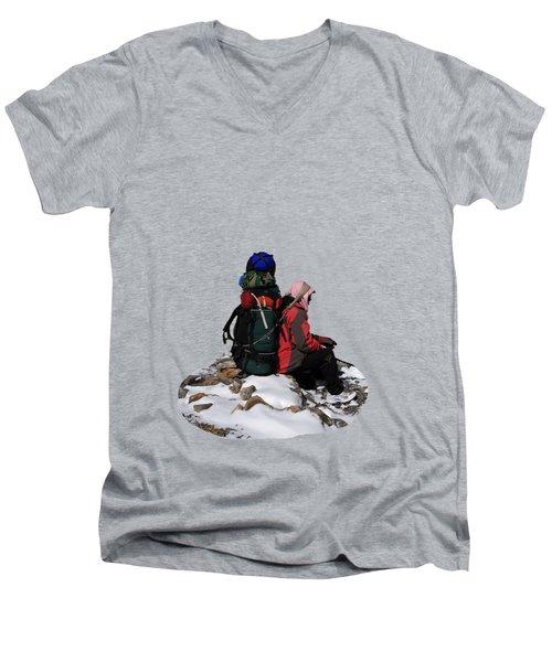 Men's V-Neck T-Shirt featuring the photograph Himalayan Porter, Nepal by Aidan Moran