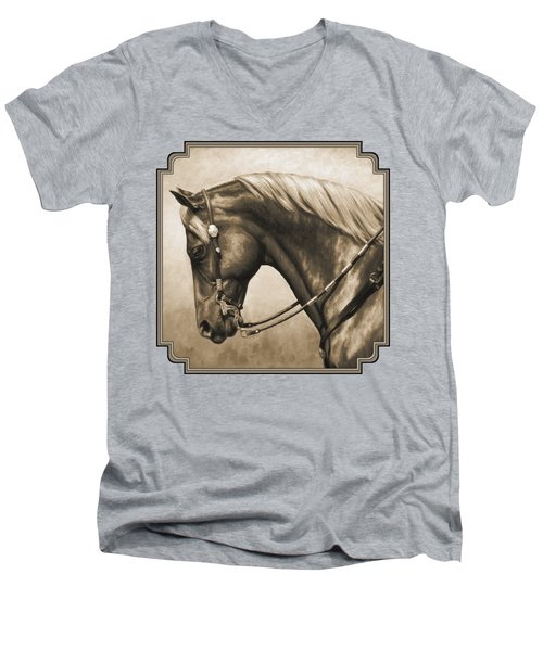 Western Horse Painting In Sepia Men's V-Neck T-Shirt by Crista Forest