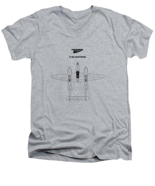 The P-38 Lightning Men's V-Neck T-Shirt by Mark Rogan