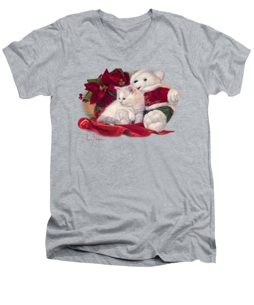 Christmas Kitten Men's V-Neck T-Shirt by Lucie Bilodeau