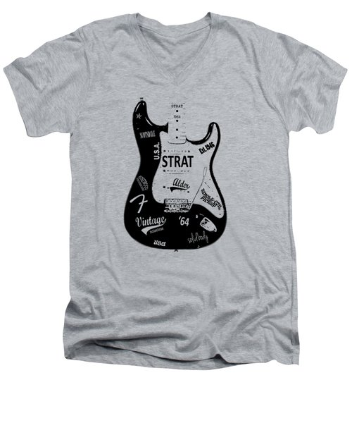 Fender Stratocaster 64 Men's V-Neck T-Shirt by Mark Rogan