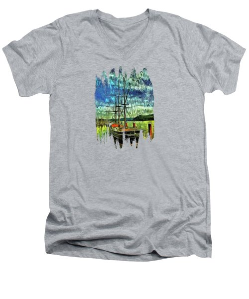Men's V-Neck T-Shirt featuring the photograph Cape Foulweather Tall Ship by Thom Zehrfeld