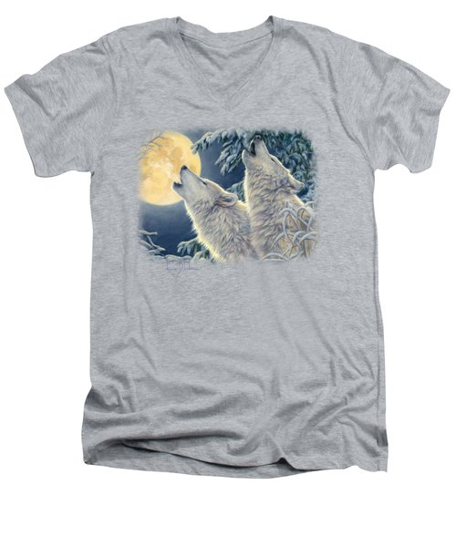 Moonlight Men's V-Neck T-Shirt by Lucie Bilodeau