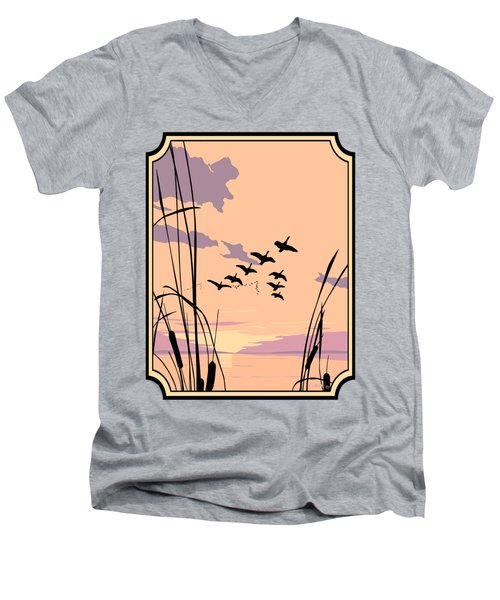 Abstract Ducks Sunset 1980s Acrylic Ducks Sunset Large 1980s Pop Art Nouveau Painting Retro      Men's V-Neck T-Shirt