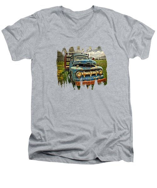 The Blue Classic 48 To 52 Ford Truck Men's V-Neck T-Shirt by Thom Zehrfeld
