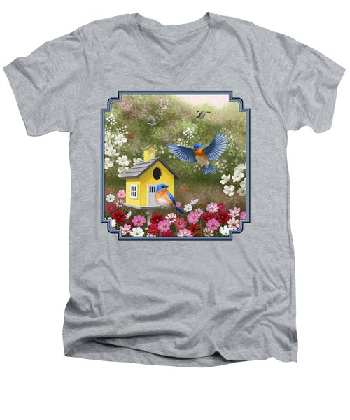Bluebirds And Yellow Birdhouse Men's V-Neck T-Shirt