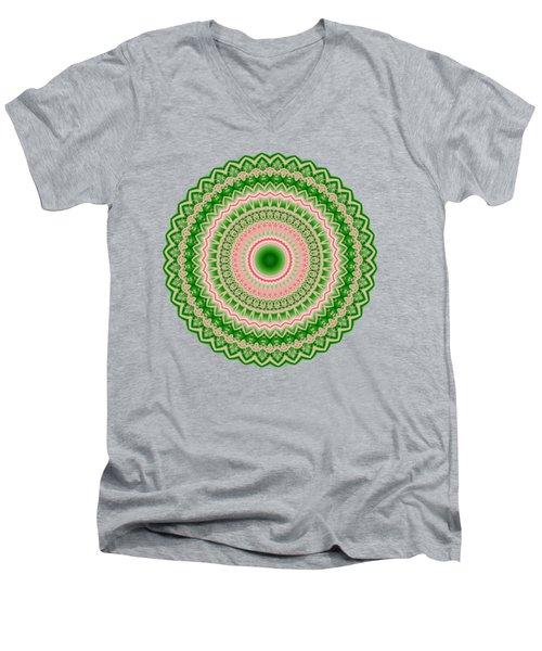 Pink And Green Mandala Fractal 002 Men's V-Neck T-Shirt
