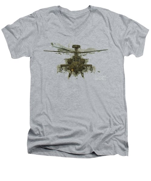 Apache Helicopter Abstract Men's V-Neck T-Shirt by Roy Pedersen