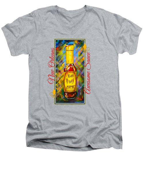 Men's V-Neck T-Shirt featuring the painting Awesome Sauce - Slap Ya Mama by Dianne Parks