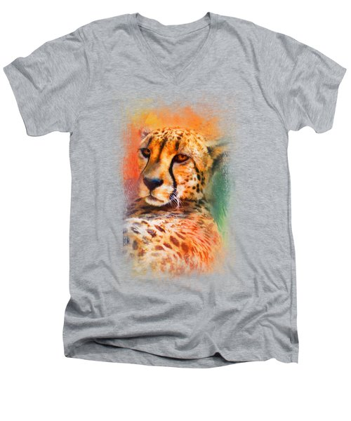 Colorful Expressions Cheetah Men's V-Neck T-Shirt by Jai Johnson