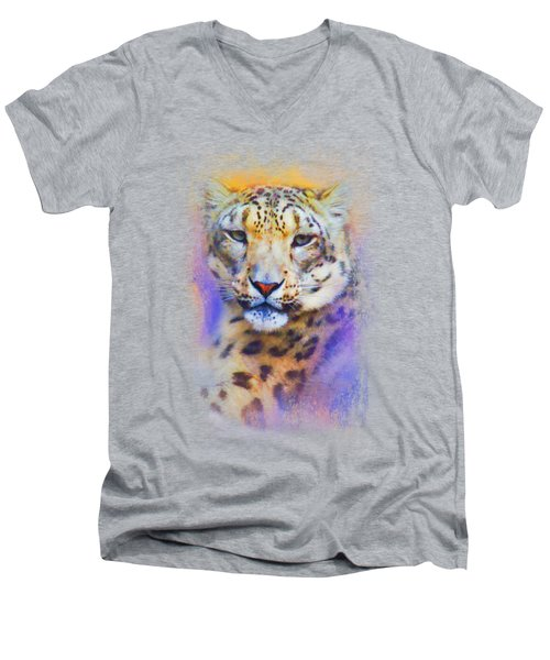 Colorful Expressions Snow Leopard Men's V-Neck T-Shirt by Jai Johnson