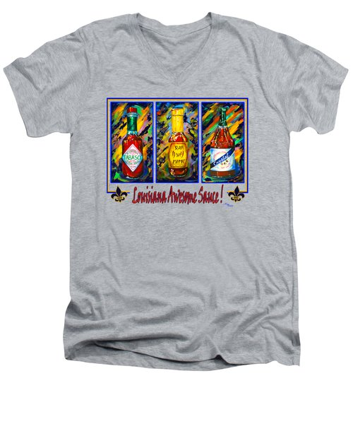 Men's V-Neck T-Shirt featuring the painting Louisiana Awesome Sauces by Dianne Parks