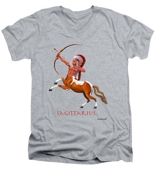 Native American Sagittarius Men's V-Neck T-Shirt by Glenn Holbrook